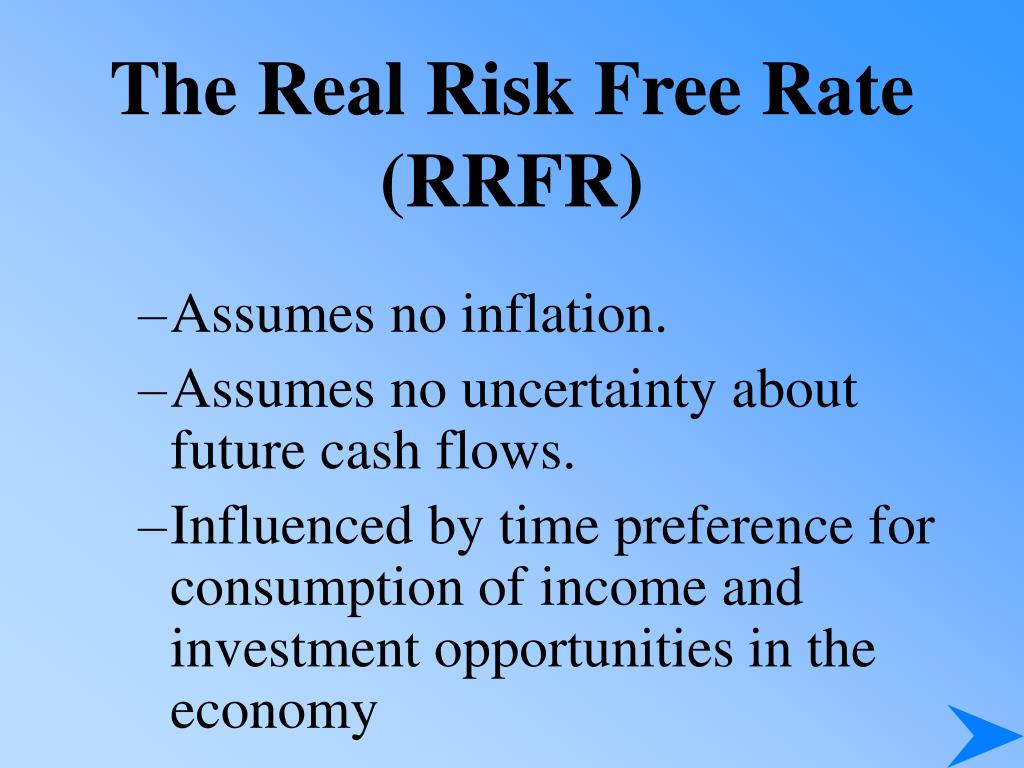 The Real Risk Free Rate (RRFR)