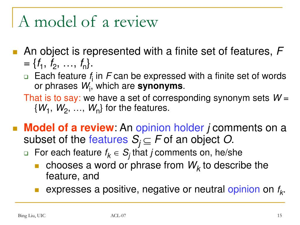 A model of a review
