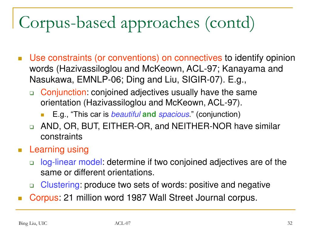 Corpus-based approaches (contd)