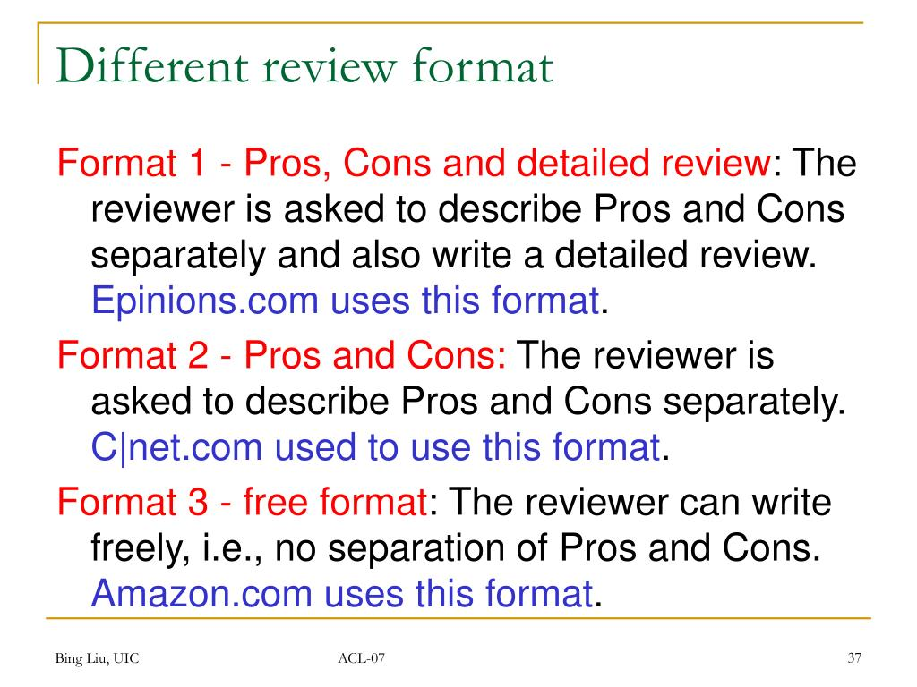 Different review format
