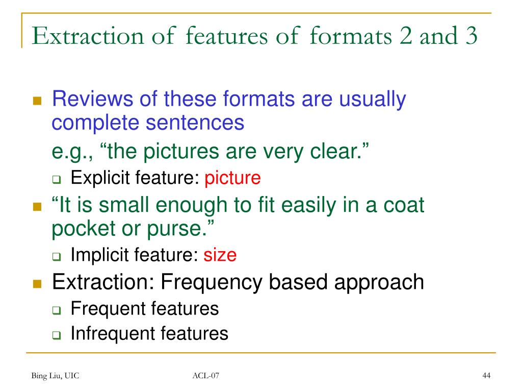 Extraction of features of formats 2 and 3