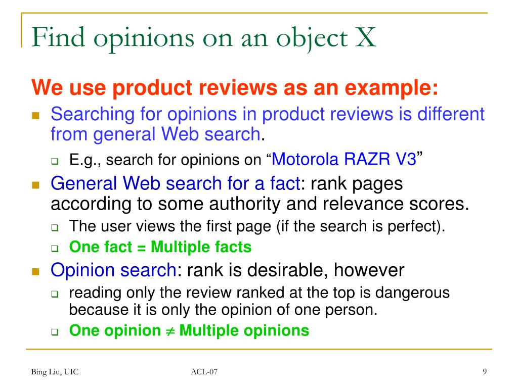 Find opinions on an object X