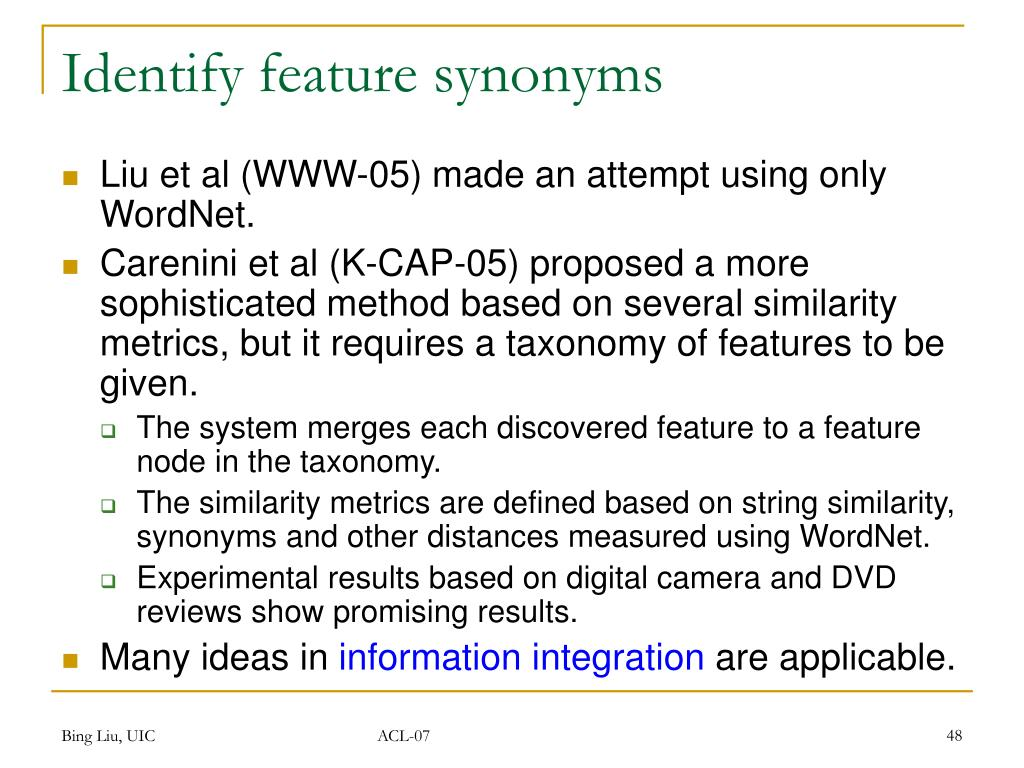 Identify feature synonyms