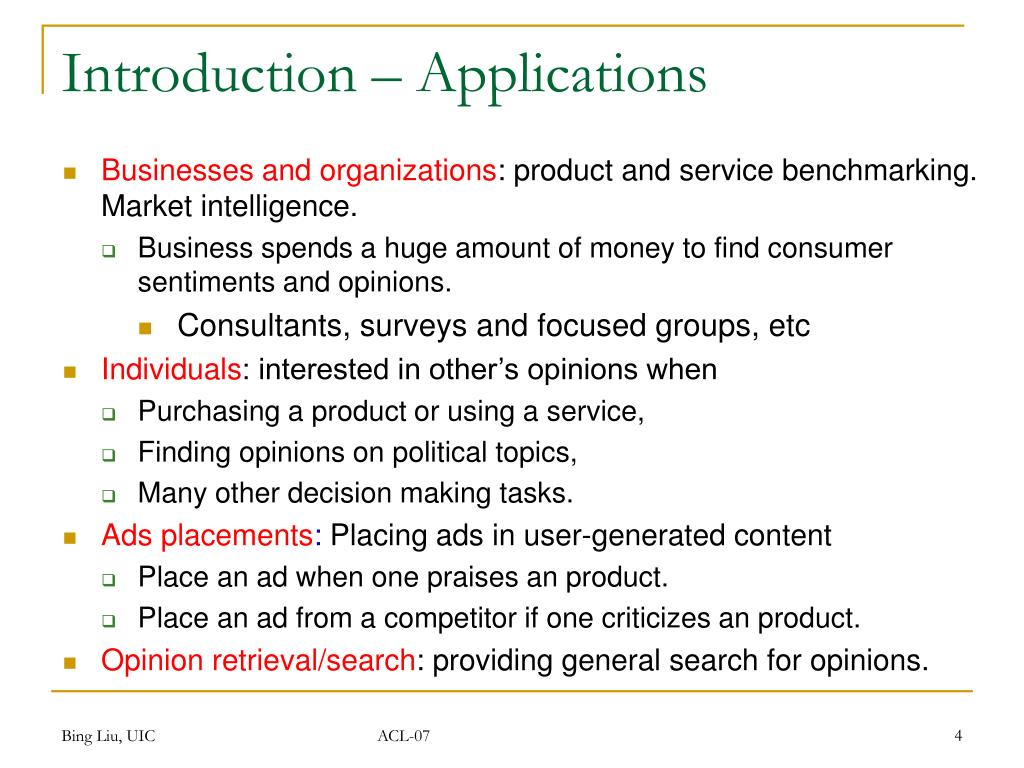 Introduction – Applications