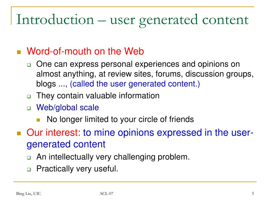 Introduction – user generated content