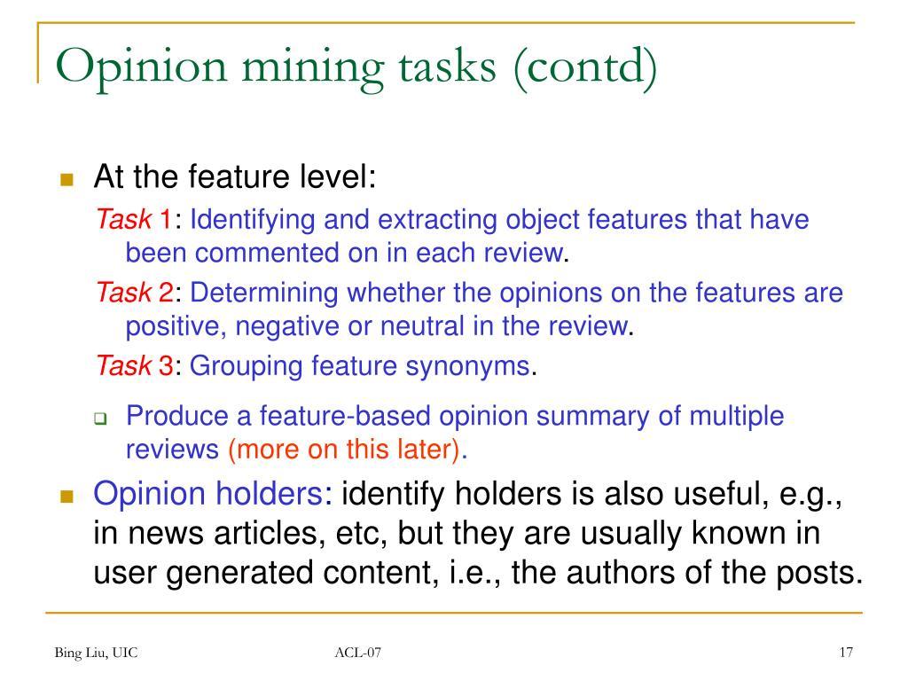 Opinion mining tasks (contd)