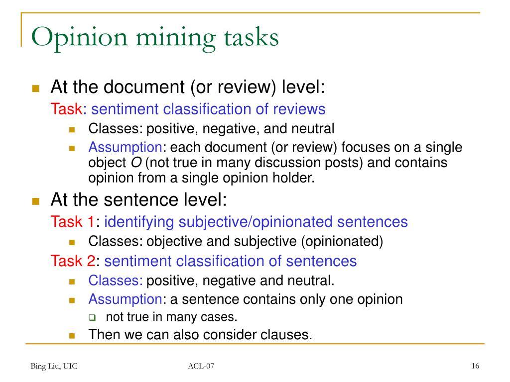 Opinion mining tasks