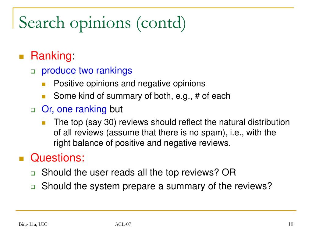 Search opinions (contd)