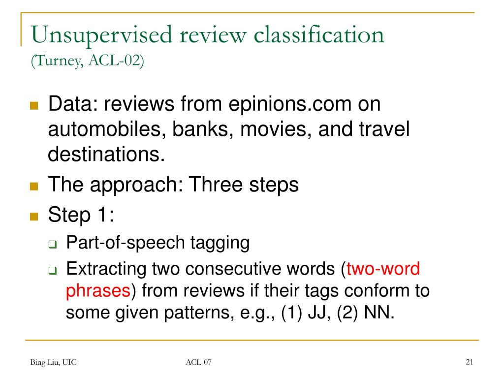 Unsupervised review classification