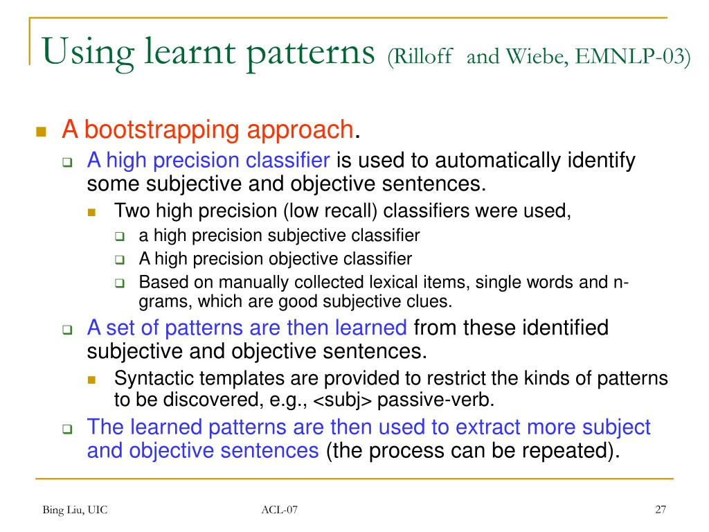 Using learnt patterns