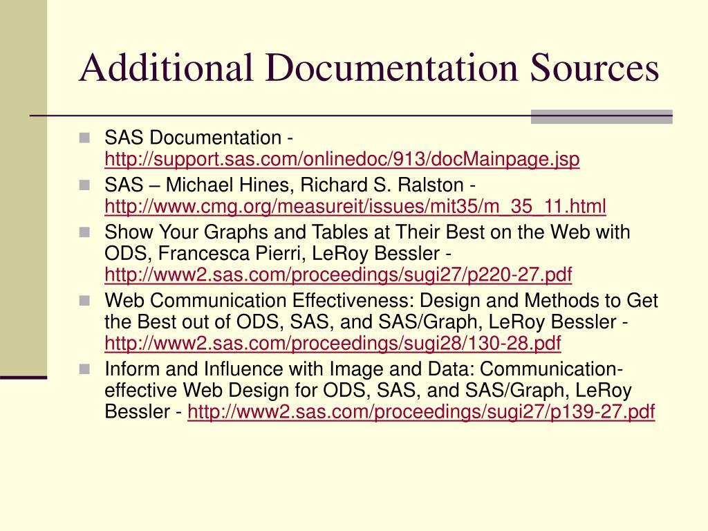 Additional Documentation Sources