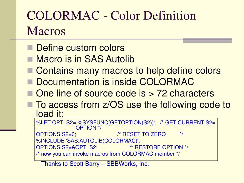COLORMAC - Color Definition Macros