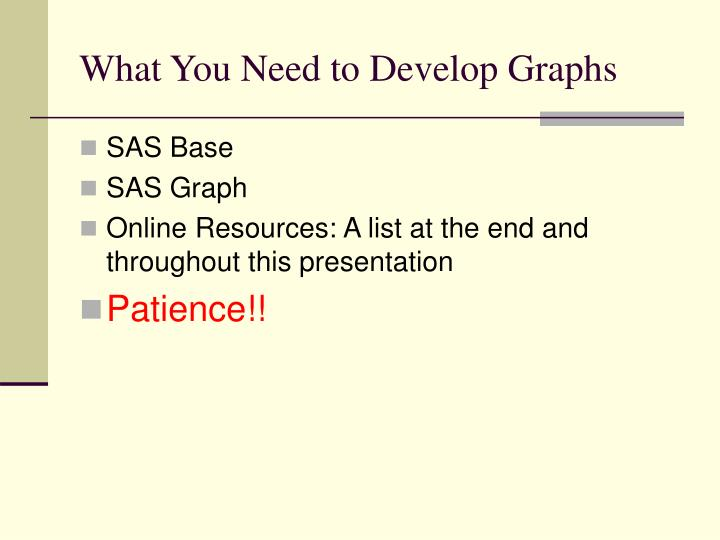 What you need to develop graphs