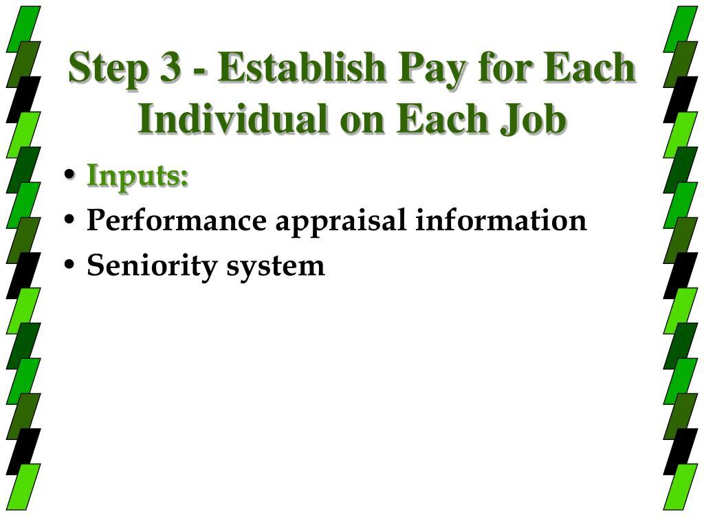 Step 3 - Establish Pay for Each Individual on Each Job