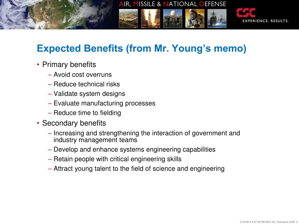 Expected Benefits (from Mr. Young's memo)