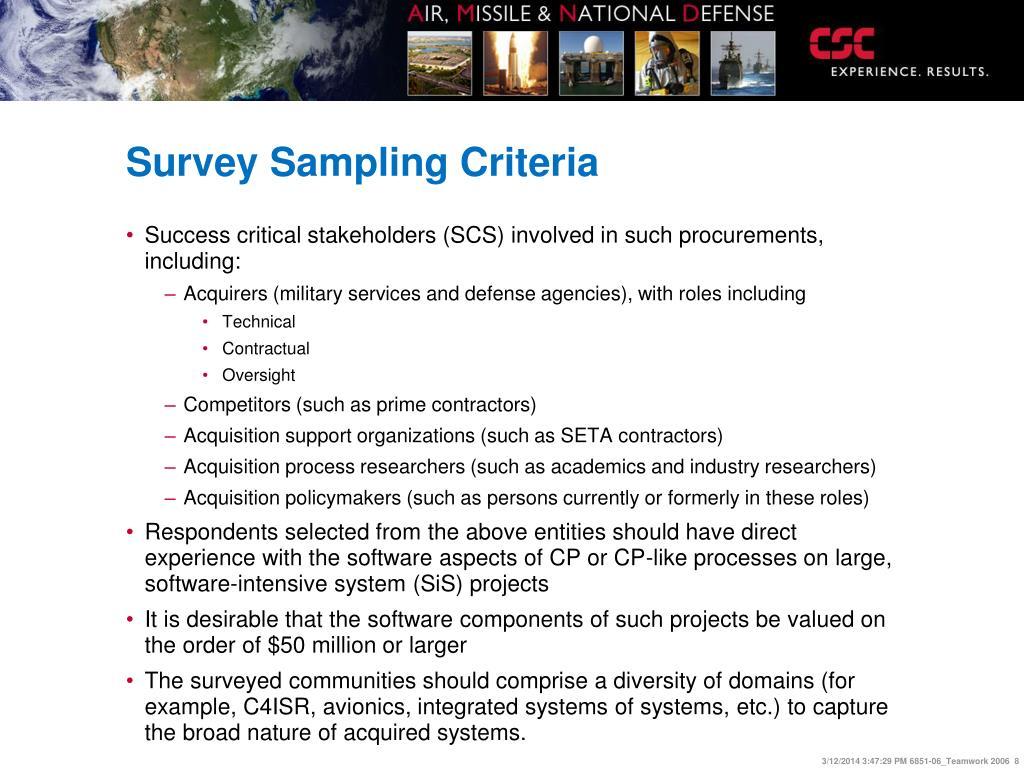 Survey Sampling Criteria