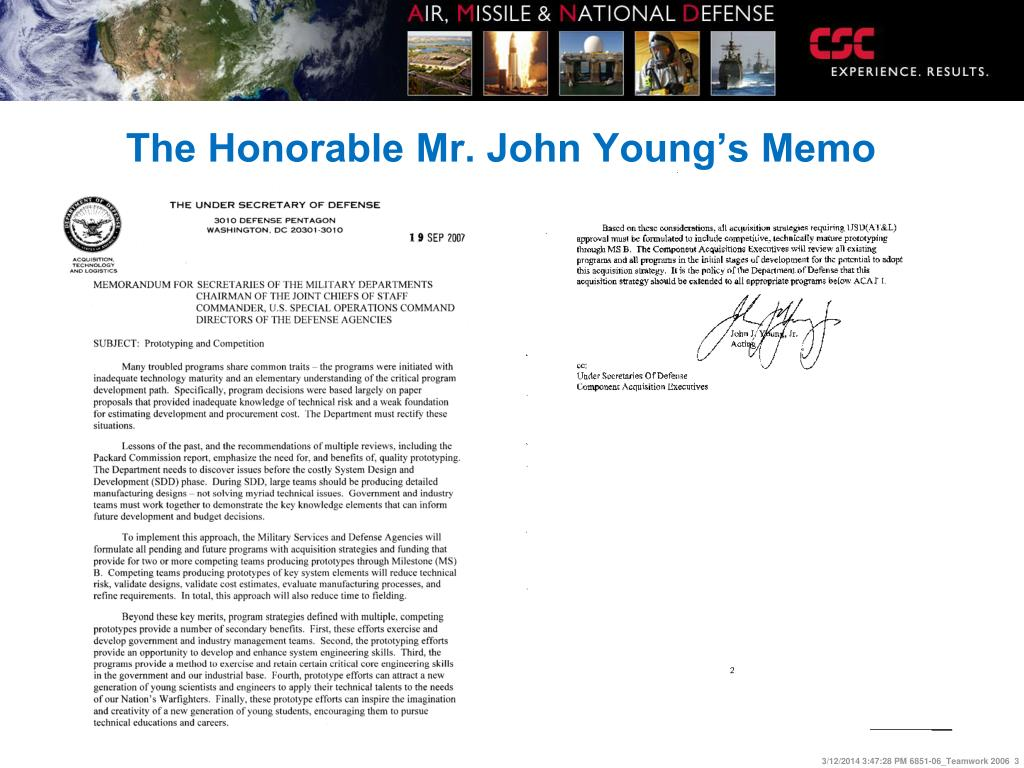 The Honorable Mr. John Young's Memo