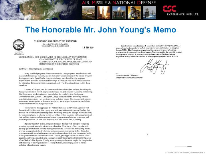 The honorable mr john young s memo