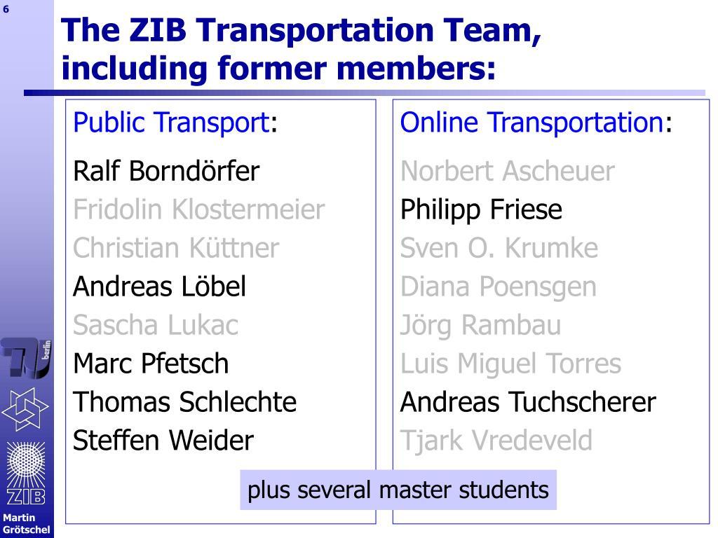 The ZIB Transportation Team,