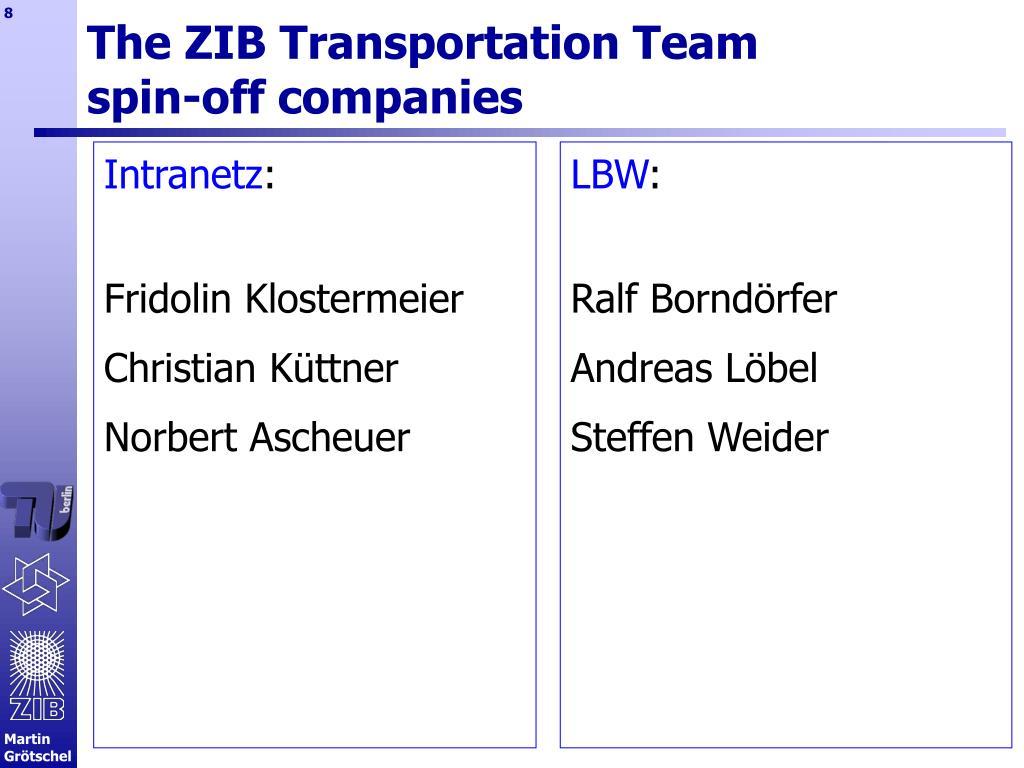 The ZIB Transportation Team
