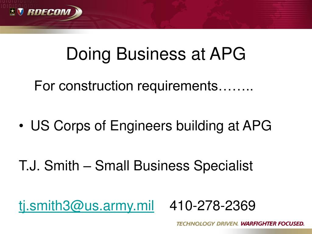 Doing Business at APG