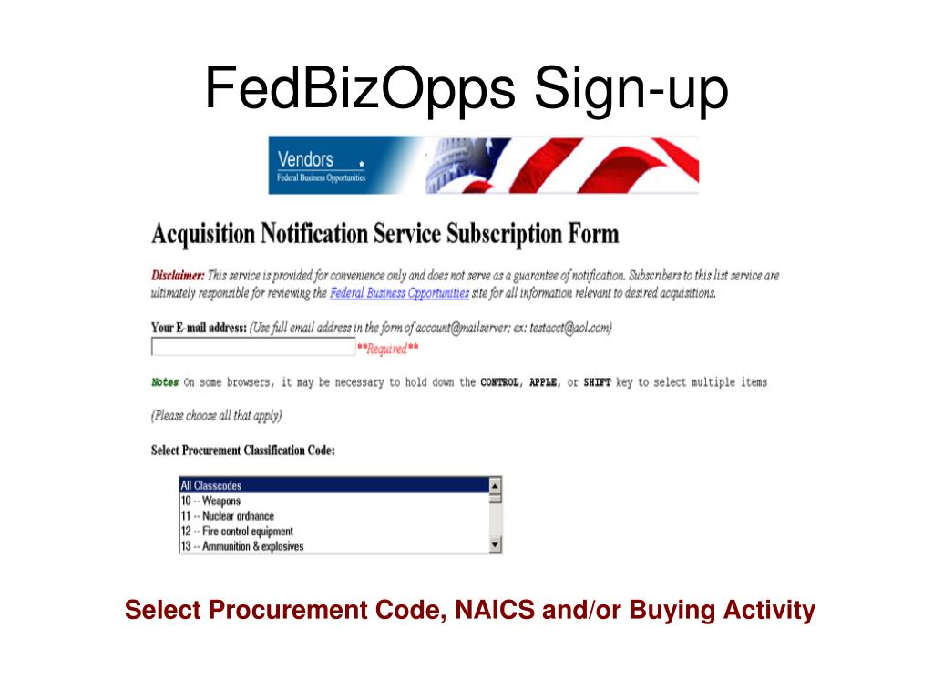 FedBizOpps Sign-up