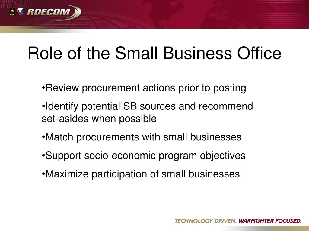 Role of the Small Business Office