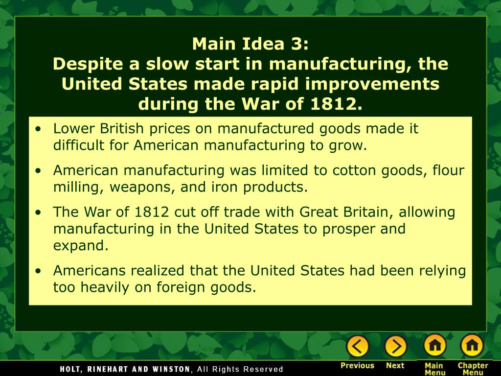 Lower British prices on manufactured goods made it difficult for American manufacturing to grow.