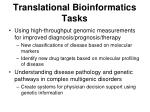 translational bioinformatics tasks