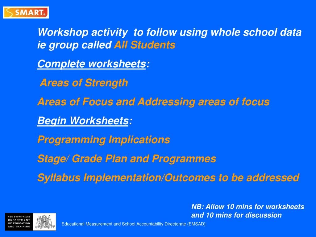 Workshop activity  to follow using whole school data ie group called