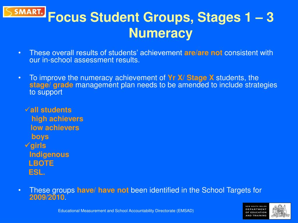 Focus Student Groups, Stages 1 – 3