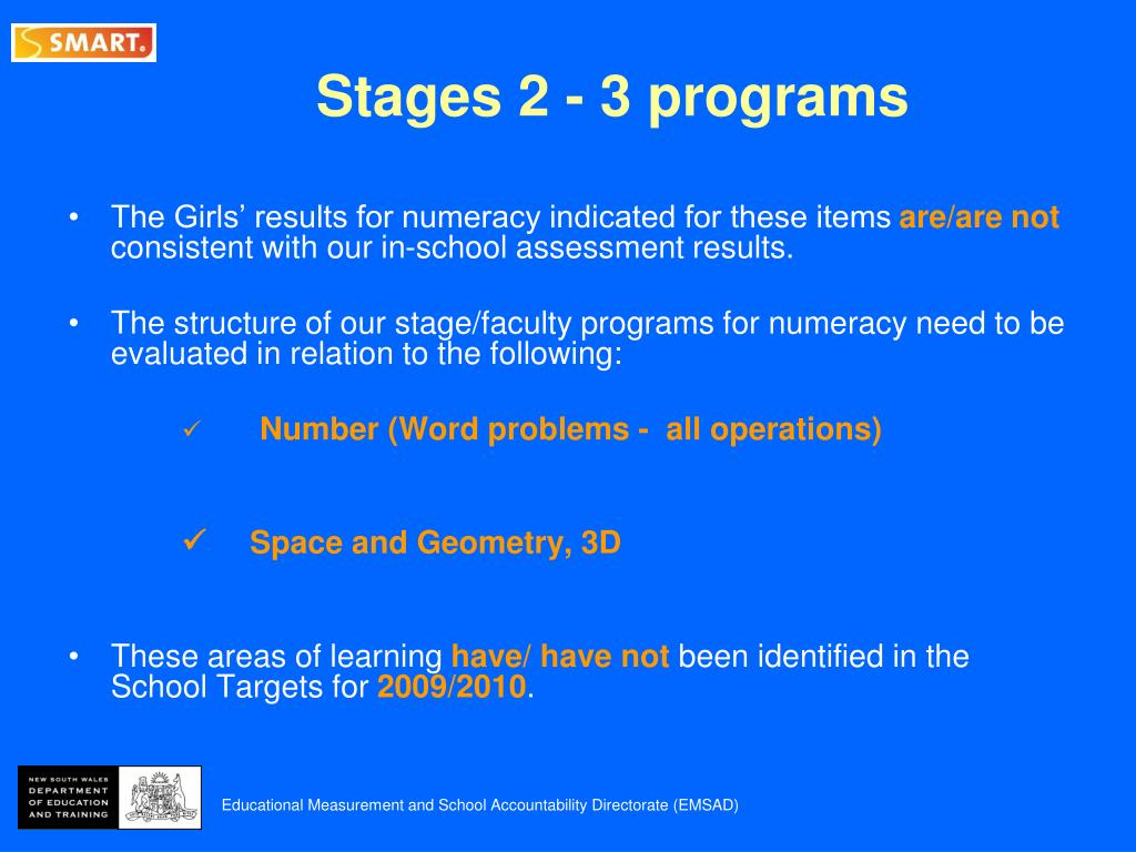 Stages 2 - 3 programs