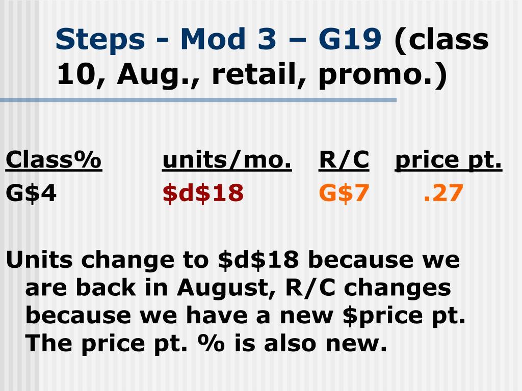Steps - Mod 3 – G19