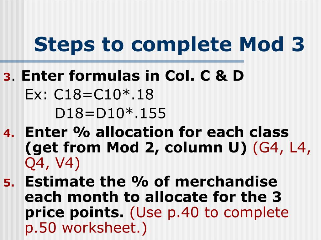 Steps to complete Mod 3