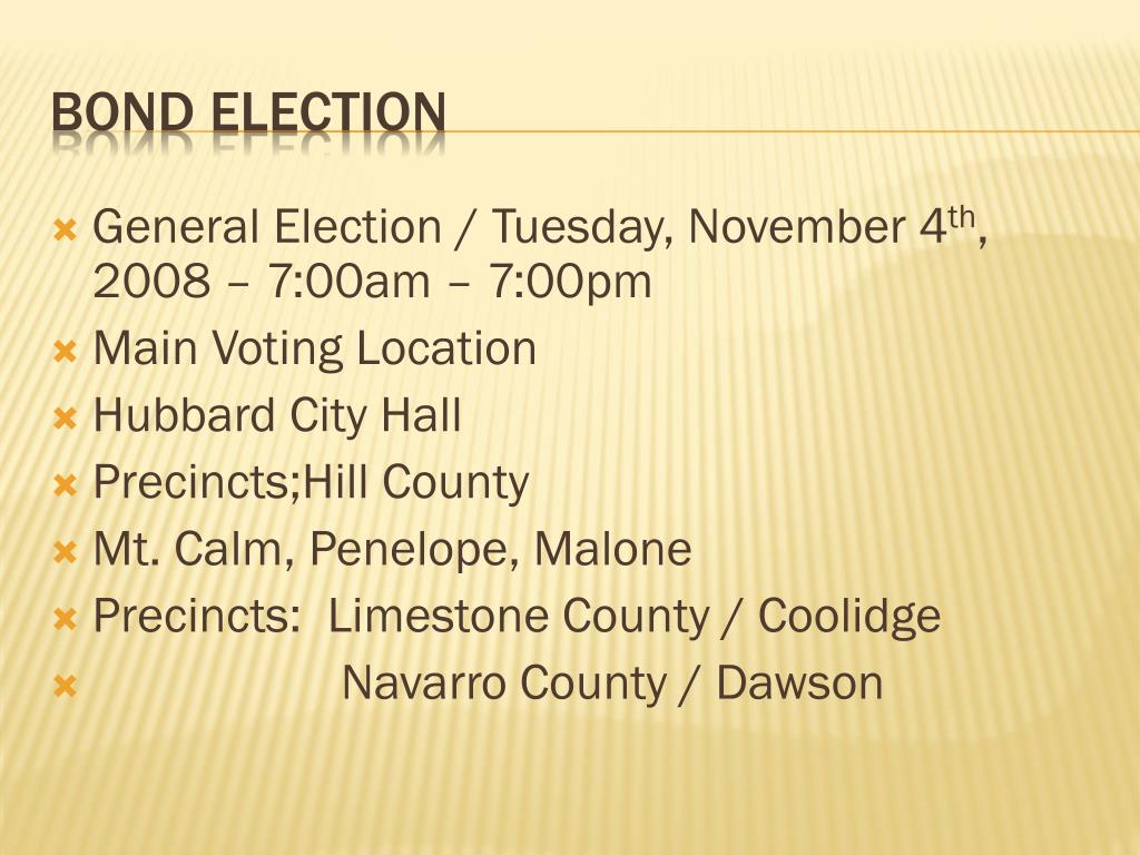 General Election / Tuesday, November 4