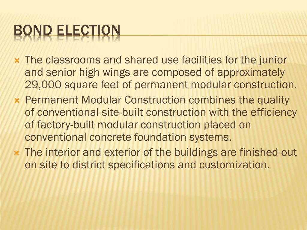 The classrooms and shared use facilities for the junior and senior high wings are composed of approximately 29,000 square feet of permanent modular construction.