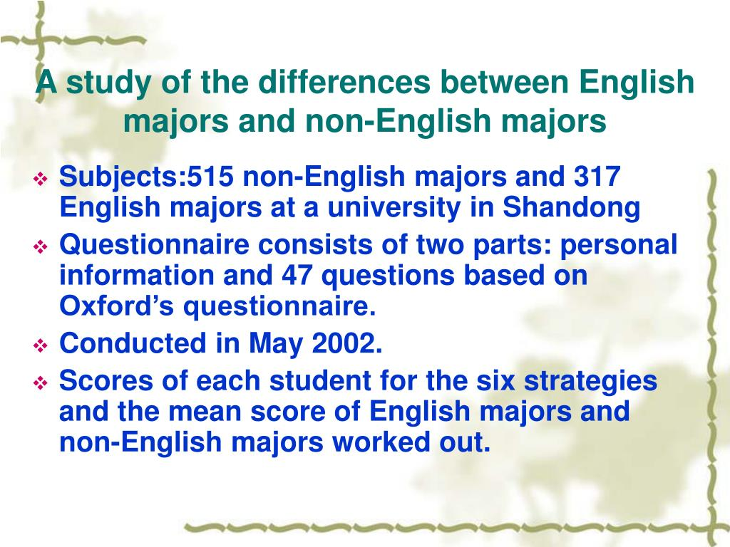 A study of the differences between English majors and non-English majors