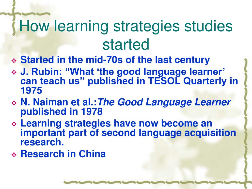 How learning strategies studies started