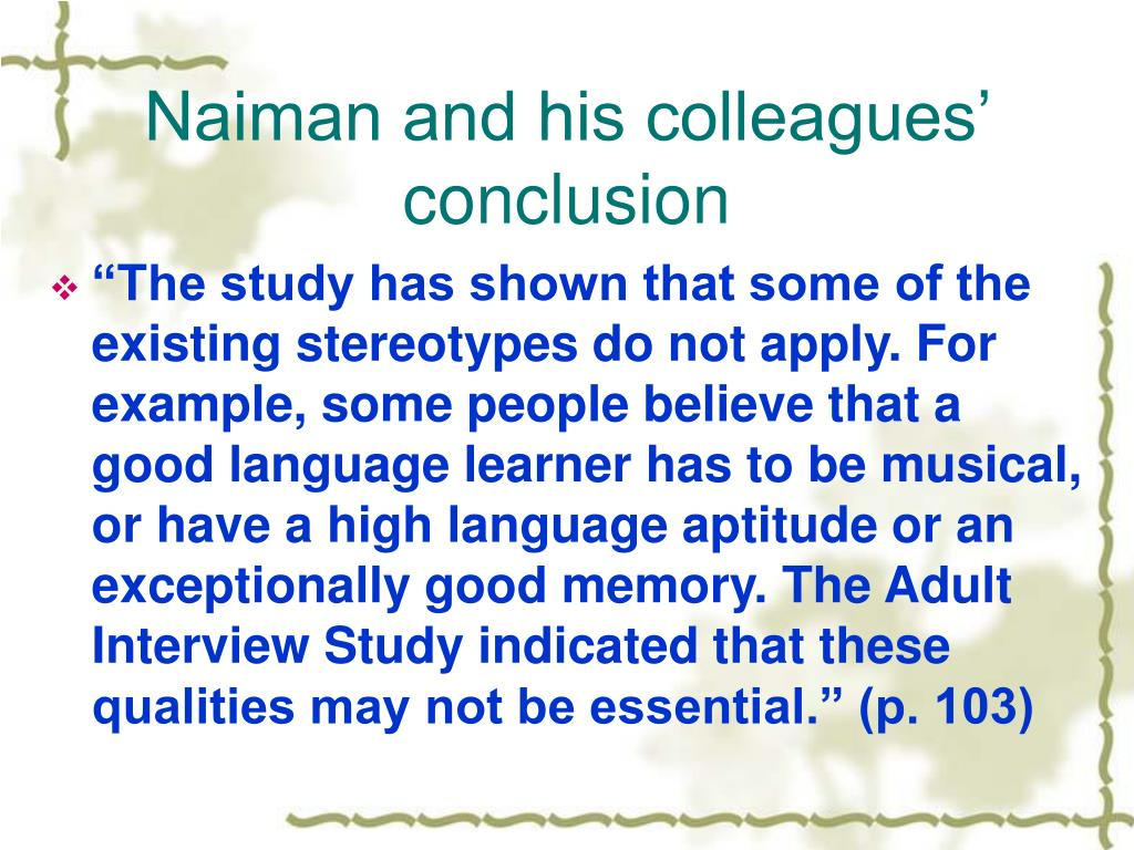 Naiman and his colleagues' conclusion