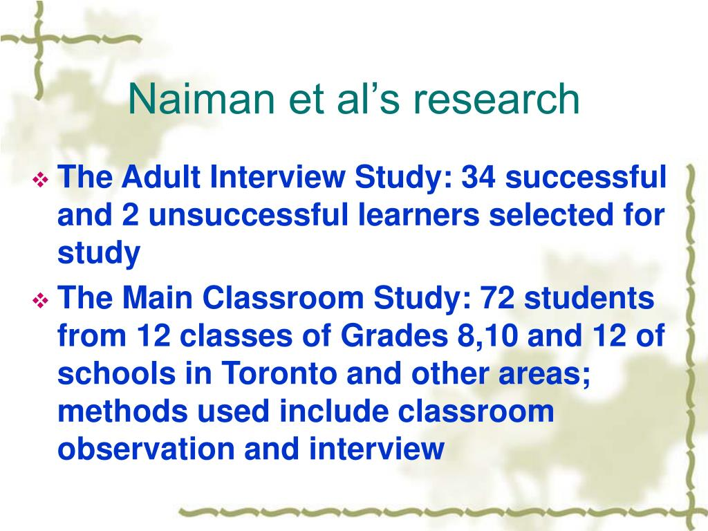 Naiman et al's research