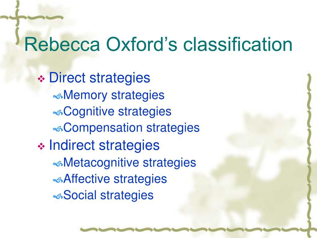 Rebecca Oxford's classification