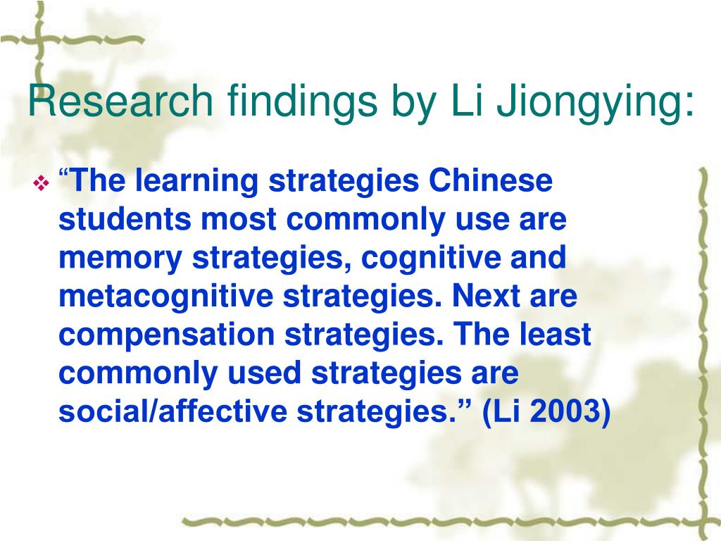 Research findings by Li Jiongying: