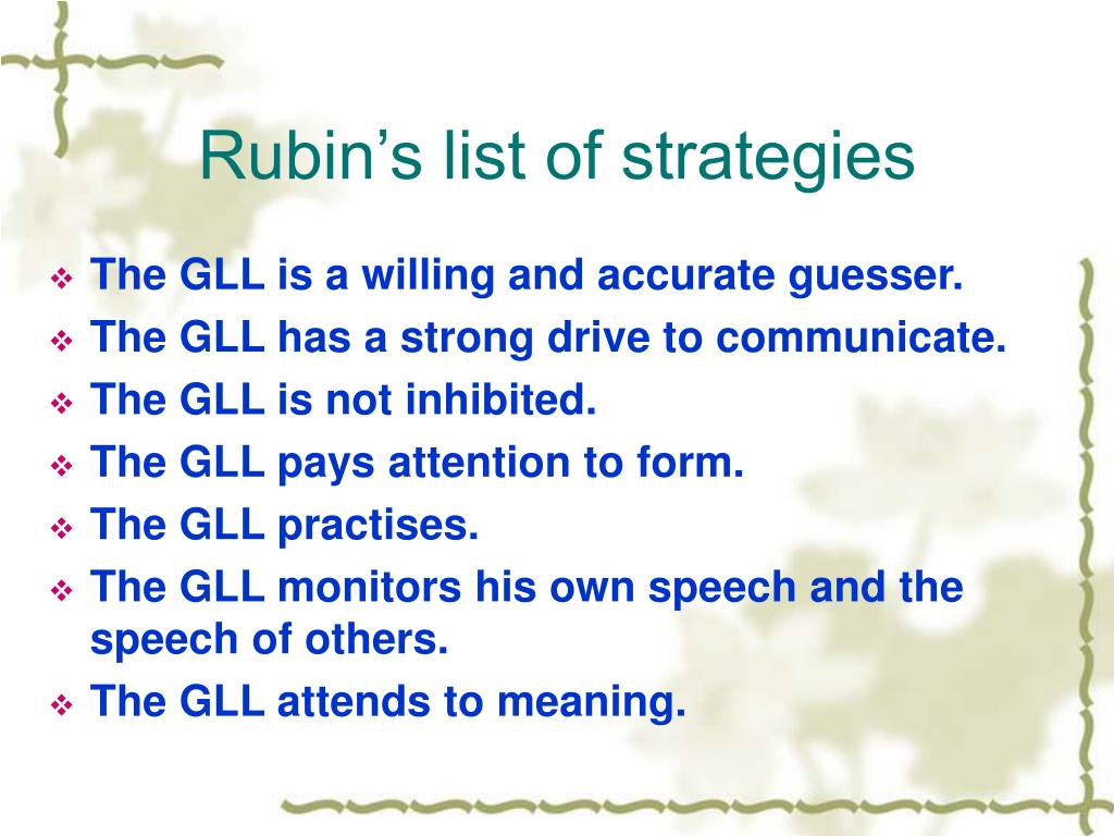 Rubin's list of strategies