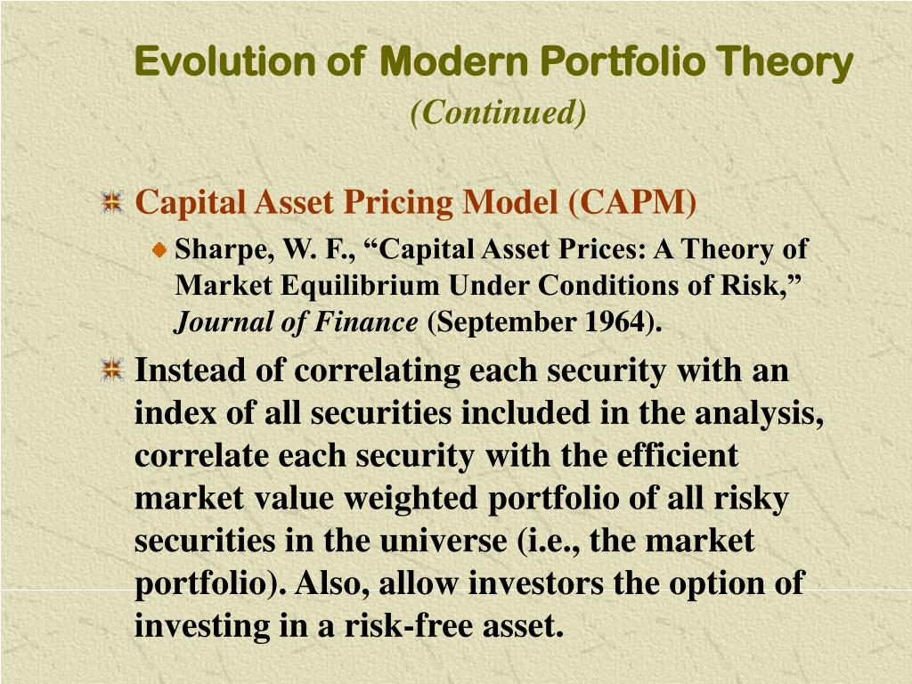 portfolio theory analysis The foundation of modern portfolio theory (mpt) was introduced by harry markowitz in 1952 thirty-eight years later, harry markowitz, merton miller and william sharpe were awarded nobel prize for what has.