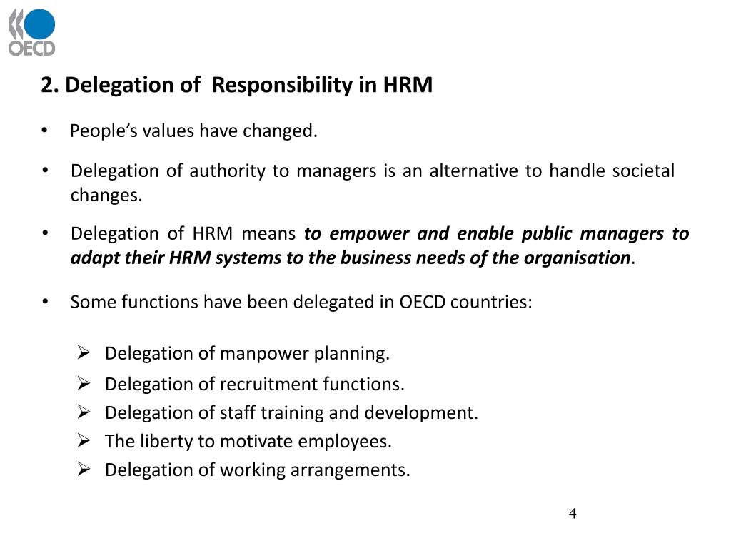 2. Delegation of  Responsibility in HRM