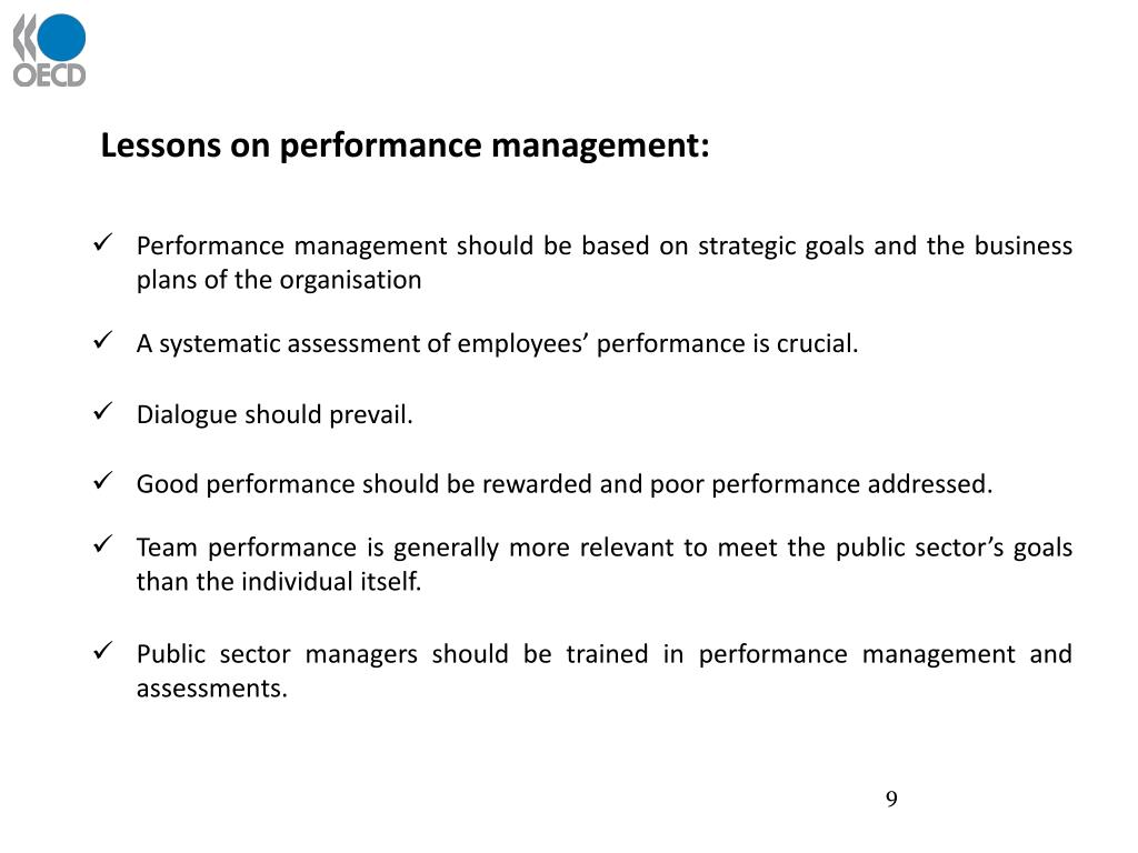 Lessons on performance management: