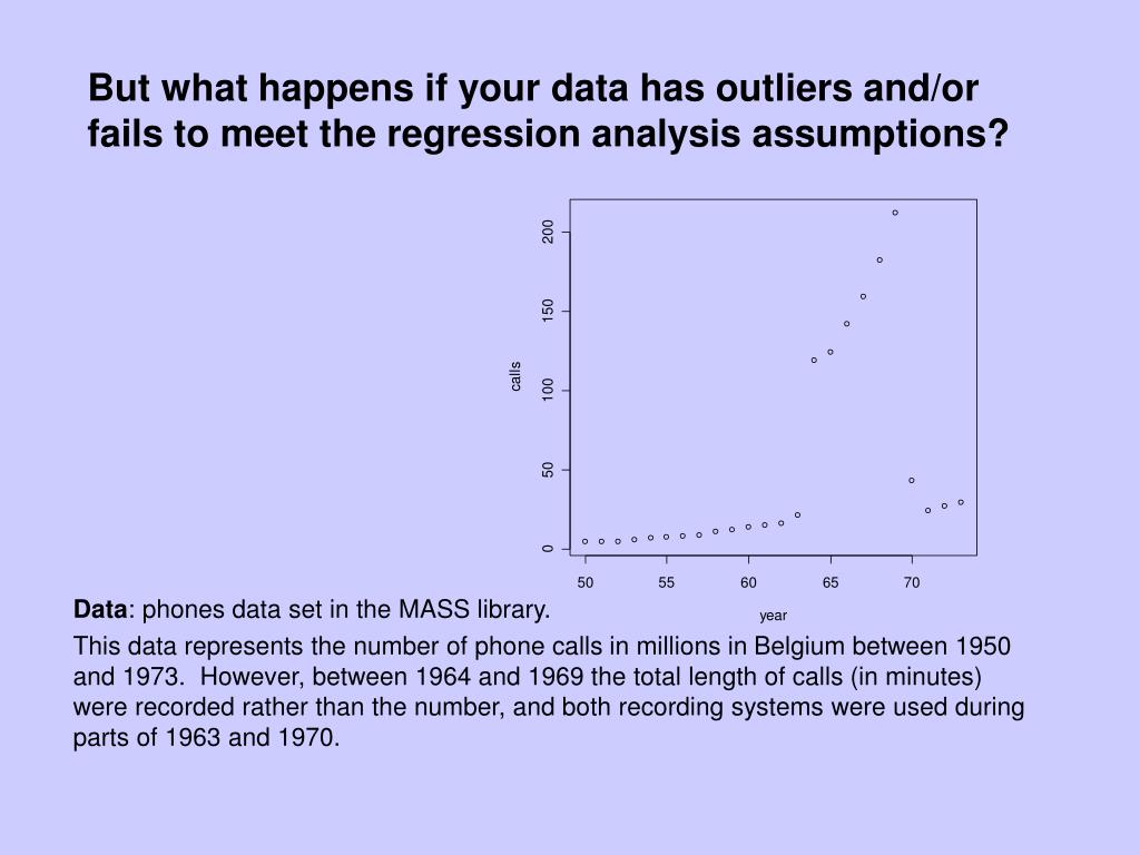 But what happens if your data has outliers and/or fails to meet the regression analysis assumptions?