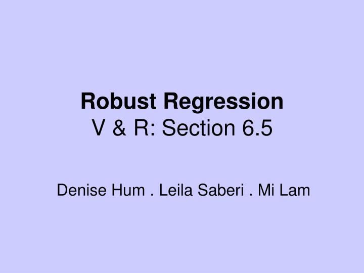 Robust regression v r section 6 5