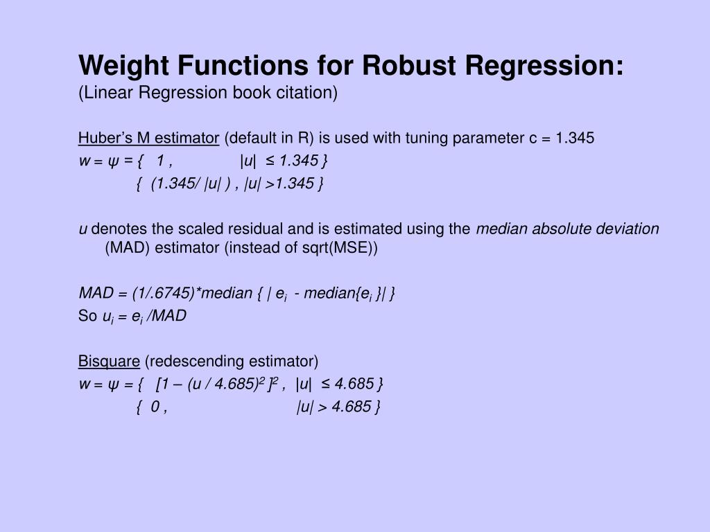 Weight Functions for Robust Regression: