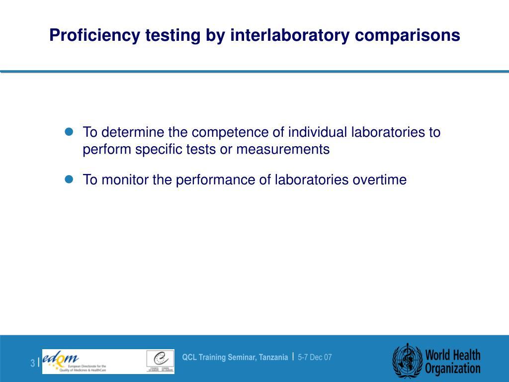 Proficiency testing by interlaboratory comparisons